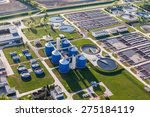 aerial view of sewage treatment ...