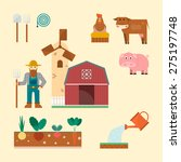 farm set   farm building ... | Shutterstock .eps vector #275197748
