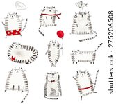 Set Of Cats. Ink And...