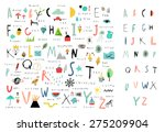 cute alphabet. letters and... | Shutterstock .eps vector #275209904