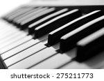 Piano Keys Close Up View Black...
