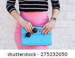 fashion young woman in pink... | Shutterstock . vector #275232050