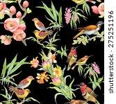 watercolor wild exotic birds on ... | Shutterstock . vector #275251196