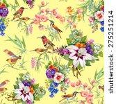 watercolor wild exotic birds on ... | Shutterstock . vector #275251214