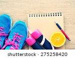 dumbbell measuring tape orange... | Shutterstock . vector #275258420