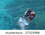 couple skorkelling on the great ... | Shutterstock . vector #27525988