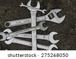 a set of wrenches on dark... | Shutterstock . vector #275268050