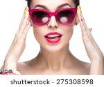 beautiful girl in red... | Shutterstock . vector #275308598