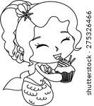 cartoon mermaid with muffin... | Shutterstock .eps vector #275326466