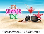 summer time title in sand and... | Shutterstock .eps vector #275346980