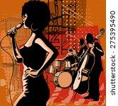jazz singer with saxophonist... | Shutterstock .eps vector #275395490