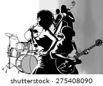 jazz singer with guitar... | Shutterstock .eps vector #275408090