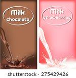 milk splashes  chocolate and... | Shutterstock .eps vector #275429426