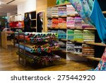 various textiles for sale in... | Shutterstock . vector #275442920