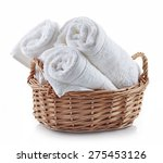 white spa towels in a basket... | Shutterstock . vector #275453126