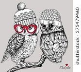 Image Of Two Owls In Knitted...