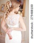 young attractive bride in ivory ... | Shutterstock . vector #275488100