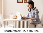 mid age woman working on her... | Shutterstock . vector #275489726