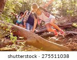 group of friends jumping over... | Shutterstock . vector #275511038