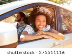 group of friends in car on road ... | Shutterstock . vector #275511116