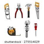 set of cartoon diy hand tools... | Shutterstock . vector #275514029