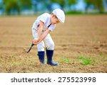 cute little farmer working with ... | Shutterstock . vector #275523998