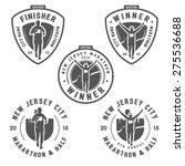 set of vintage marathon labels  ... | Shutterstock .eps vector #275536688