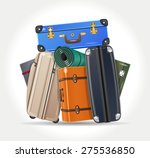 pile of luggage | Shutterstock .eps vector #275536850