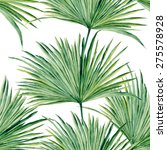 Palm leaves watercolor. Seamless vector pattern