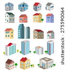 set of 3d detailed buildings... | Shutterstock .eps vector #275590064