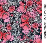 pattern with beautiful peony... | Shutterstock .eps vector #275590700