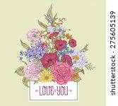 gentle retro summer floral...   Shutterstock .eps vector #275605139