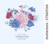 gentle retro summer blue floral ... | Shutterstock .eps vector #275605166