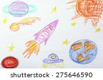 kids drawing on white sheet of... | Shutterstock . vector #275646590