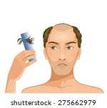 young bald headed man with hair ... | Shutterstock .eps vector #275662979