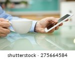 man is using smart mobile phone ... | Shutterstock . vector #275664584