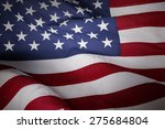closeup of rippled american flag | Shutterstock . vector #275684804