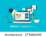 blogging. flat vector... | Shutterstock .eps vector #275686340