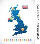 great britain map with flag and ... | Shutterstock .eps vector #275704490