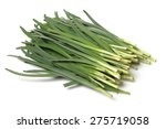 Garlic Chives Isolated On Whit...