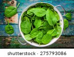 Raw Fresh Spinach With Drops I...
