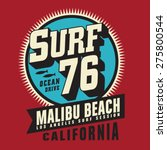 california surf typography  t... | Shutterstock .eps vector #275800544