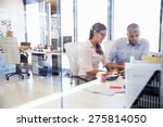 office colleagues talking at... | Shutterstock . vector #275814050