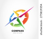 abstract multicolor compass...