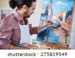 young artist painting italian... | Shutterstock . vector #275819549