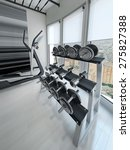 dumbbell rack in modern gym. 3d ... | Shutterstock . vector #275827388