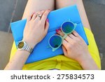 overhead view of trendy girl... | Shutterstock . vector #275834573