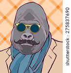 Hipster Gorilla Vector...