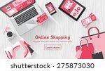online shopping concept desktop ... | Shutterstock .eps vector #275873030