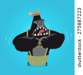 funny cartoon gorilla in... | Shutterstock .eps vector #275887223